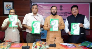 The Minister of State for Environment, Forest and Climate Change (Independent Charge), Mr. Prakash Javadekar releasing the NGO Directory, in New Delhi on October 06, 2015. The Secretary, Ministry of Environment, Forest and Climate Change, Mr. Ashok Lavasa is also seen.