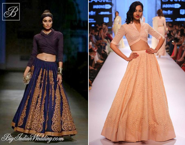 Shantanu And Nikhil showcased cute collared crop top lehenga styles in his  Indo western cocktail wear collection  Pernia s Pop Up Shop created this  unique. 5 CROP TOP DESIGNER LEHENGA STYLES THAT BLAZED THE RUNWAYS