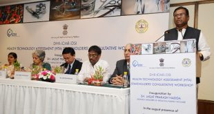 The Ministers of State for Health & Family Welfare, Mr. Faggan Singh Kulaste addressing at the inauguration of the DHR-ICMR- iDSI International Workshop on 'Health Technology Assessment-Awareness and Topic Selection', in New Delhi on July 25, 2016. The Minister of State for Health & Family Welfare, Mrs. Anupriya Patel, the DG (ICMR), Dr. Soumya Swaminathan and other dignitaries are also seen.