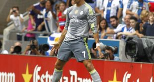 Cristiano Ronaldo of Real Madrid celebrating a goal during a Spanish League match against RCD Espanyol at the Power8 stadium on September 12 2015 in Barcelona Spain