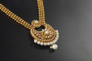 Indian Traditional Gold Necklace with White pearl