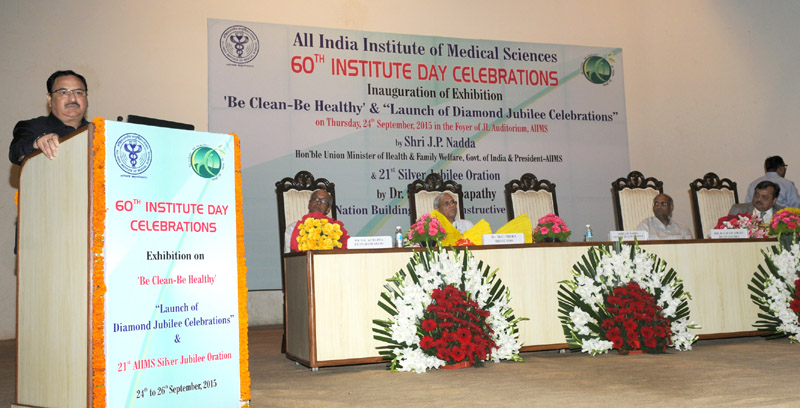 The Union Minister for Health & Family Welfare, Mr. J.P. Nadda addressing on the occasion of 60th Institute Day of AIIMS, in New Delhi on September 24, 2015. The Director, AIIMS, New Delhi, Prof. M.C. Mishra is also seen.