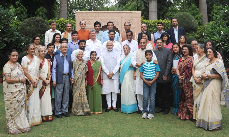 The Prime Minister, Mr. Narendra Modi in a group photograph with the family members of Netaji Subhas Chandra Bose, at 7 Race Course Road, in New Delhi on October 14, 2015.