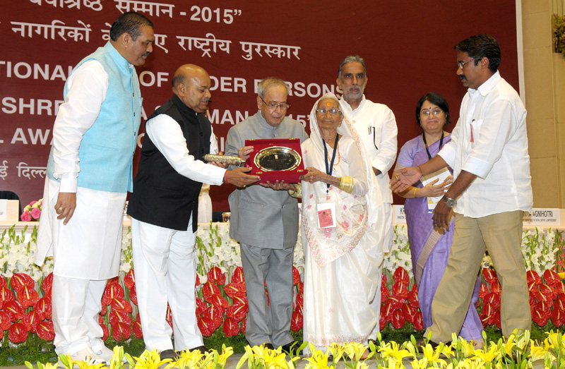 The President, Shri Pranab Mukherjee at the presentation of the 'Vayoshreshtha Samman-2015' on Senior Citizens, on the occasion of the 'International Day of Older Persons', in New Delhi on October 01, 2015. The Union Minister for Social Justice and Empowerment, Mr. Thaawar Chand Gehlot, the Minister of State for Social Justice & Empowerment, Mr. Krishan Pal and Mr. Vijay Sampla and the Secretary, Ministry of Social Justice and Empowerment, Ms. Anita Agnihotri are also seen.