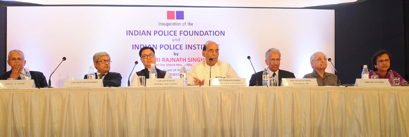 The Union Home Minister, Mr. Rajnath Singh addressing at the inauguration of the Indian Police Foundation and the Indian Police Institute, in New Delhi on October 21, 2015. The Minister of State for Home Affairs, Mr. Kiren Rijiju and other dignitaries are also seen.