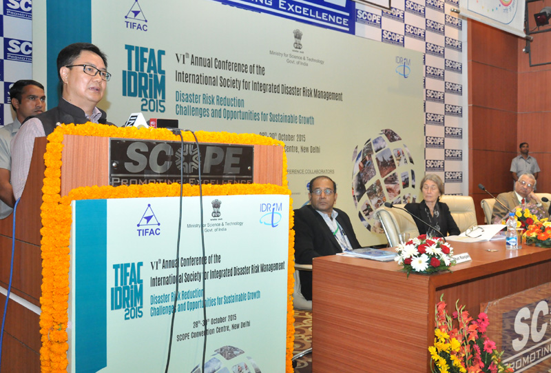 The Minister of State for Home Affairs, Mr. Kiren Rijiju addressing at the inauguration of the 6th Annual Conference of the International Society for Integrated Disaster Risk Management, in New Delhi on October 28, 2015.