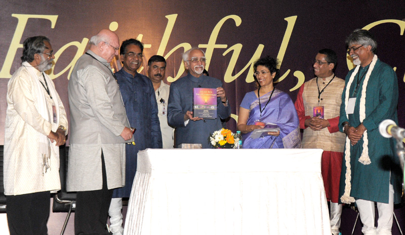 The Vice President, Mr. Mohd. Hamid Ansari releasing a book entitled 'South Asia Bible Commentary' in New Delhi on October 04, 2015.