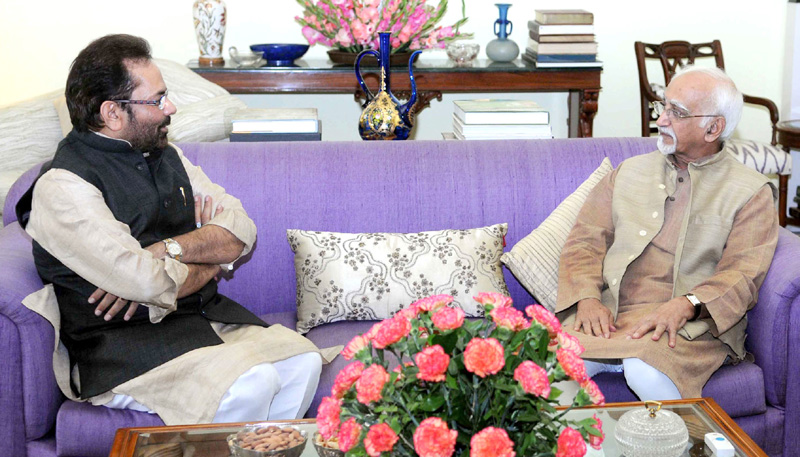 The Minister of State for Minority Affairs and Parliamentary Affairs, Mr. Mukhtar Abbas Naqvi calling on the Vice President, Mr. Mohd. Hamid Ansari, in New Delhi on November 10, 2015.