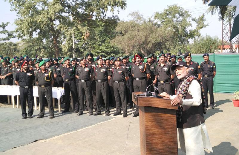 The Prime Minister, Mr. Narendra Modi addressing soldiers at the Dograi War Memorial in Khasa, Amritsar, Punjab on November 11, 2015.