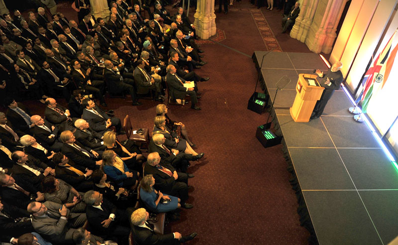 The Prime Minister, Mr. Narendra Modi addressing the City of London at Indo-UK Business Meeting in The Old Library, in Guildhall, London on November 12, 2015.