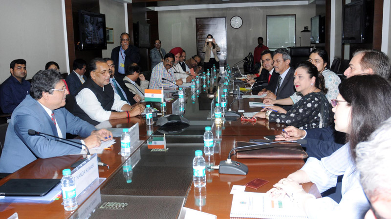 The Union Minister for Agriculture and Farmers Welfare, Mr. Radha Mohan Singh in a bilateral meeting with the Minister of Agriculture of Brazil, Ms. Katia Abreu, in New Delhi on November 14, 2015.