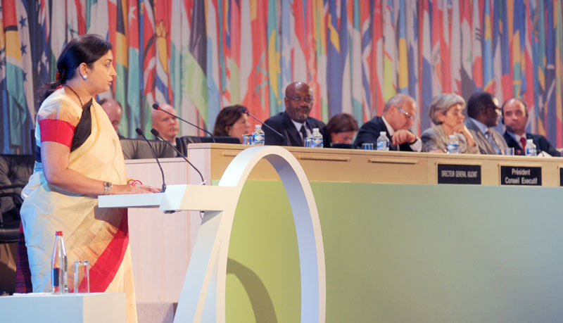 The Union Minister for Human Resource Development, Mrs. Smriti Irani addressing at UNESCO Leaders' Forum to commemorate UNESCO's 70th Anniversary, in Paris on November 16, 2015.