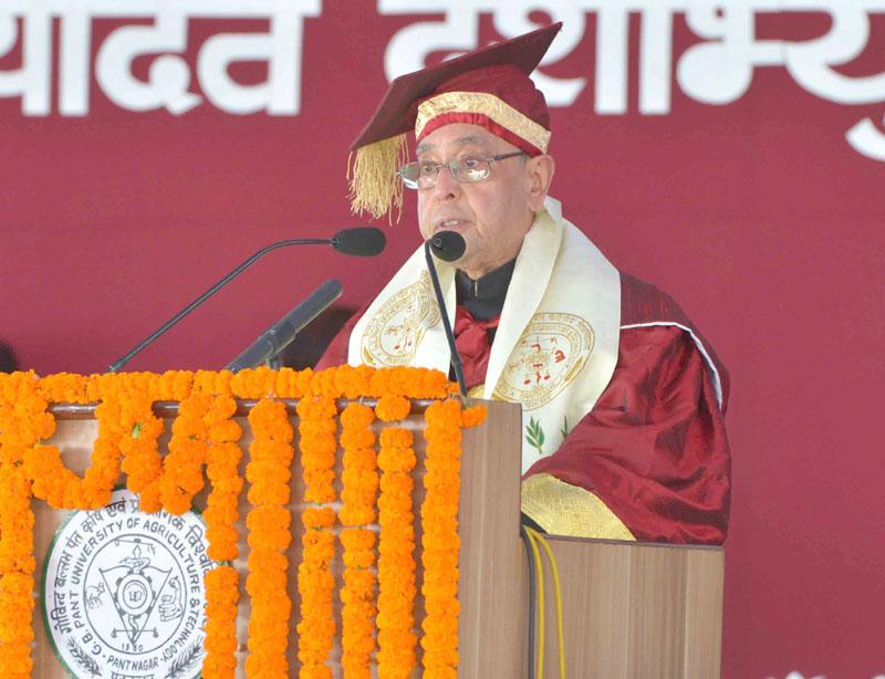 The President, Mr. Pranab Mukherjee addressing at the 29th Convocation of Govind Ballabh Pant University of Agriculture & Technology, at Pantnagar, in Uttarakhand on November 17, 2015.