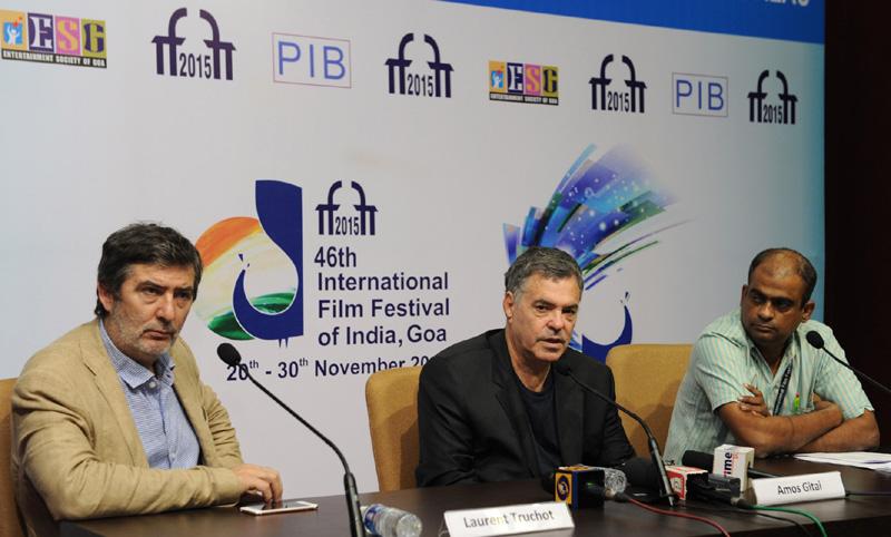 Israeli Film Maker Mr. Amos Gitai addressing a press conference, at the 46th International Film Festival of India (IFFI-2015), in Panaji, Goa on November 22, 2015.