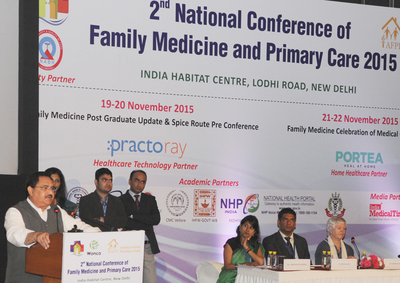 The Union Minister for Health & Family Welfare, Mr. J.P. Nadda addressing at the 2nd National Conference of Family Medicine and Primary Care (FMPC 2015), in New Delhi on November 22, 2015.