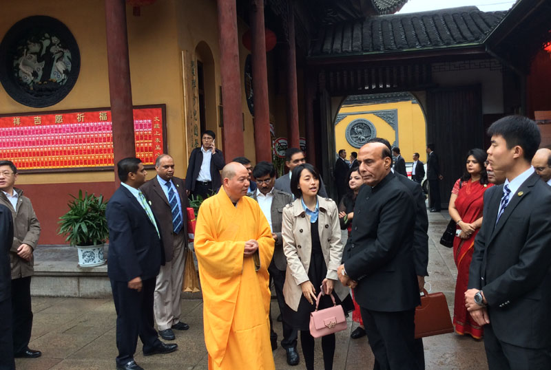The Union Home Minister, Mr. Rajnath Singh visiting the Jade Buddha temple, in Shanghai China on November 23, 2015.