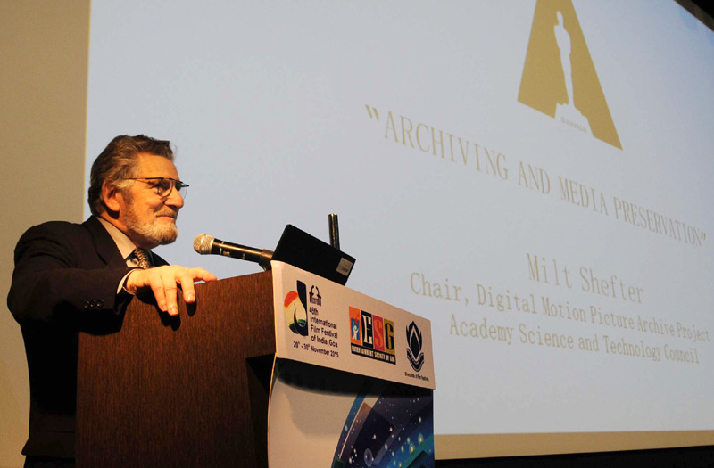 Master class by Mr. Milt Shefter on Film Archive and preservation, at the 46th International Film Festival of India (IFFI-2015), in Panaji, Goa on November 23, 2015.