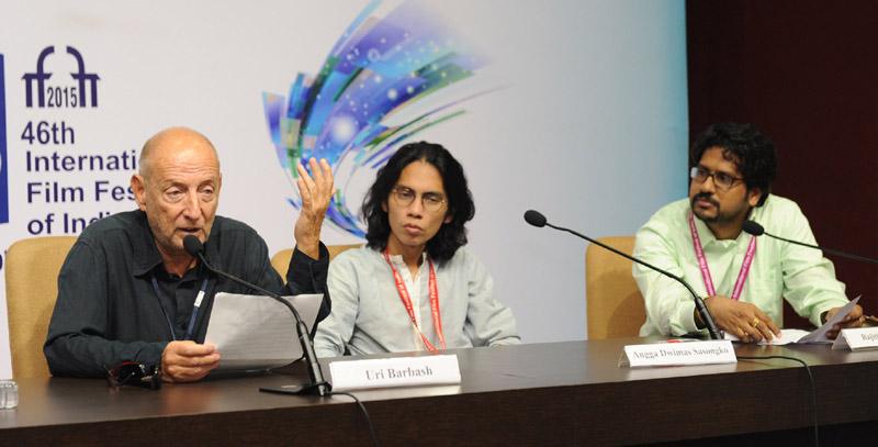 The Directors, Uri Barbash (Israel) and Angga Dwimas Sasongko (Indonesia) at a press conference, during the 46th International Film Festival of India (IFFI-2015), in Panaji, Goa on November 27, 2015.