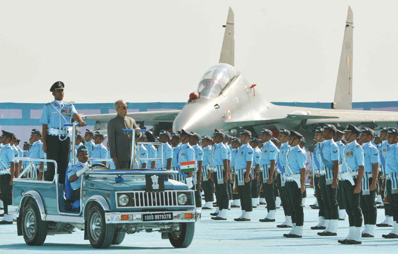 The President, Mr. Pranab Mukherjee inspecting the Guard of Honour, at the presentation of the President's Standard to the 18 Squadron and 22 Squadron of Indian Air Force, at Hasimara, in West Bengal on November 28, 2015.