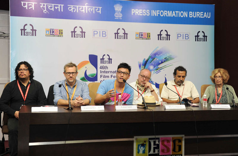 The Directors, Lekal Sumi, Laurent Larvere, David Constantin, Julia Vargas, Michael klette and Art Director, Rameses Benjumea torres at a press conference, during the 46th International Film Festival of India (IFFI-2015), in Panaji, Goa on November 29, 2015.