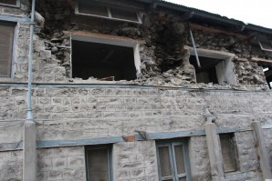 Historical building of Mountain Inn damaged by earthquake