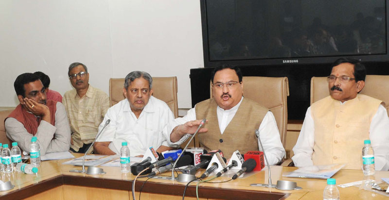 The Union Minister for Health & Family Welfare, Mr. J.P. Nadda addressing a Curtain Raiser press conference on 21st INCOFYRA, in New Delhi on November 05, 2015. The Minister of State for AYUSH (Independent Charge) and Health & Family Welfare, Mr. Shripad Yesso Naik and the President, VYASA and Chancellor, S-VYASA University, Dr. H.R. Nagendra are also seen.