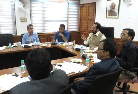 The Minister of State for Minority Affairs and Parliamentary Affairs, Shri Mukhtar Abbas Naqvi reviews the Prime Minister?s new 15-point programme with line Ministries, in New Delhi on November 06, 2015.