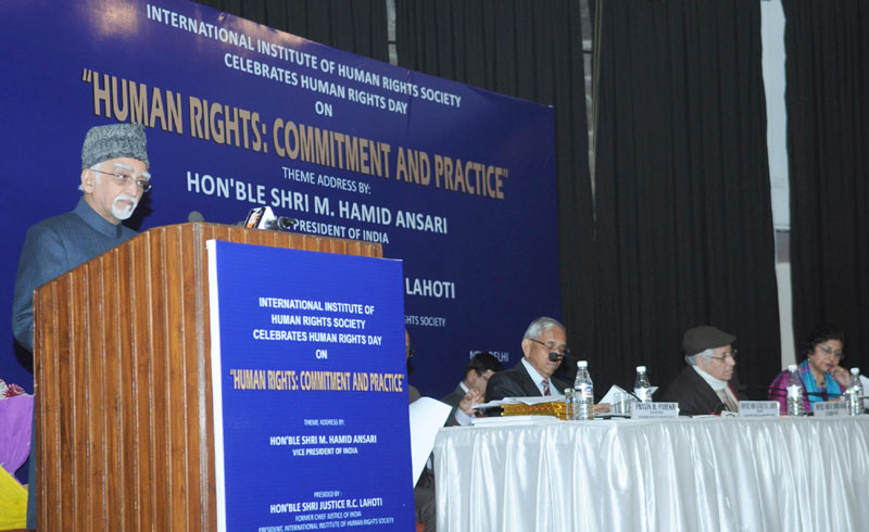 The Vice President, Mr. Mohd. Hamid Ansari addressing at the 'Human Rights Day' function, in New Delhi on December 10, 2015.