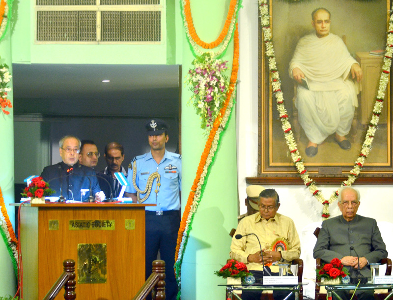 The President of India, Mr. Pranab Mukherjee delivering the Indira Gandhi Memorial Lecture on National Integration, at the Asiatic Society, in Kolkata, West Bengal on December 14, 2015. The Governor of West Bengal, Mr. Keshari Nath Tripathi is also seen.