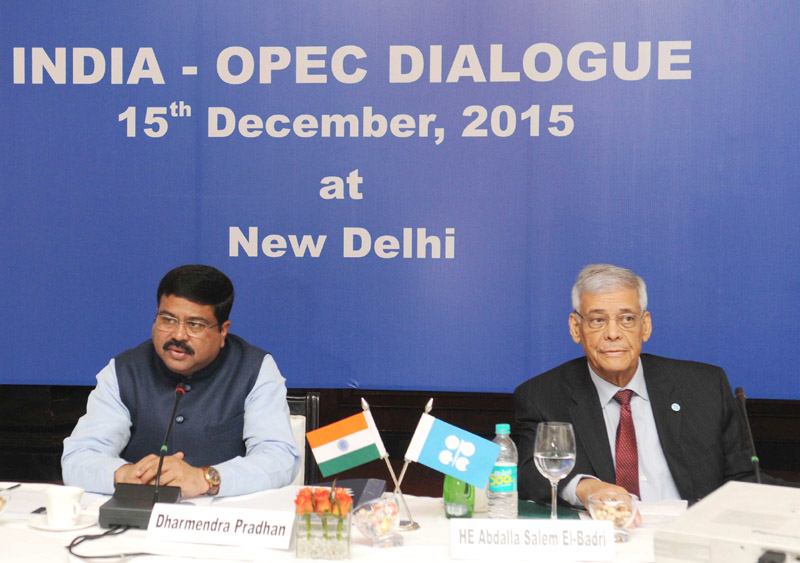 The Minister of State for Petroleum and Natural Gas (Independent Charge), Mr. Dharmendra Pradhan and the Secretary General of OPEC, Mr. Abdalla Salem El- Badri addressing a press conference on India-OPEC Dialogue , in New Delhi on December 15, 2015.