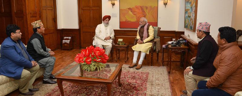 A delegation of members of the Gorkha Janmukti Morcha led by Mr. S. S. Ahluwalia calls on the Prime Minister, Mr. Narendra Modi, in New Delhi on December 17, 2015.