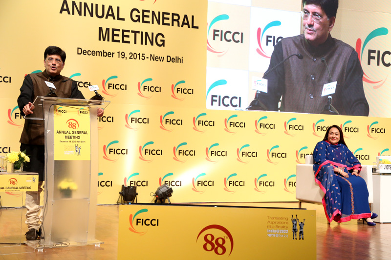 The Minister of State (Independent Charge) for Power, Coal and New and Renewable Energy, Mr. Piyush Goyal addressing the FICCI 88th Annual General Meeting, in New Delhi, on December 19, 2015.