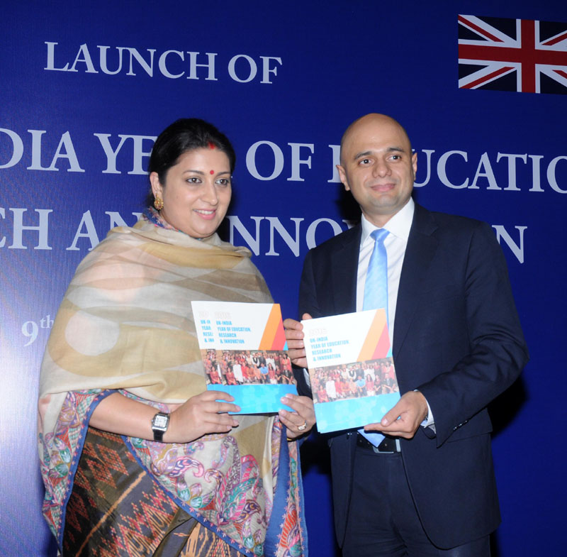 The Union Minister for Human Resource Development, Mrs. Smriti Irani and the Secretary of State, Business Innovation and Skills, UK, Mr. Sajid Javid launching the 2016: UK-INDIA Year of Education, Research and Innovation, at a function, in New Delhi on December 09, 2015.