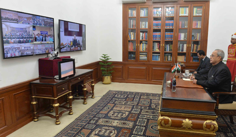 The President, Mr. Pranab Mukherjee addressing the Students and Faculty of the Institutes of Higher Learning and Probationary Officers at Civil Services Academies through video conferencing using National Knowledge Network (NKN), at Rashtrapati Bhavan, in New Delhi on January 19, 2016.