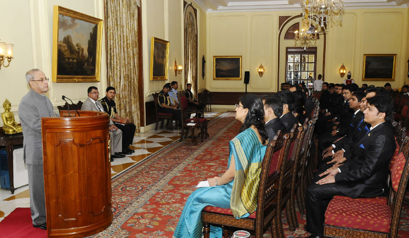 The President, Mr. Pranab Mukherjee addressing the Probationers of the Indian Postal Service (2015 Batch) and Officer Trainees of Indian Telecom Service (2012 & 2013 Batches) and Officer Trainees of P&T Building Works Service (2010 & 2013 Batches) from National Telecommunications Institute for Policy Research, Innovation & Training (NTIPRIT), at Rashtrapati Bhavan, in New Delhi on March 09, 2016.