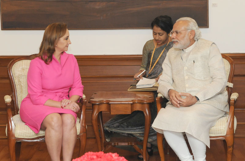 The Secretary of Foreign Affairs (Foreign Minister), Mexico, Ms. Claudia Ruiz Massieu calls on the Prime Minister, Mr. Narendra Modi, in New Delhi on March 11, 2016.