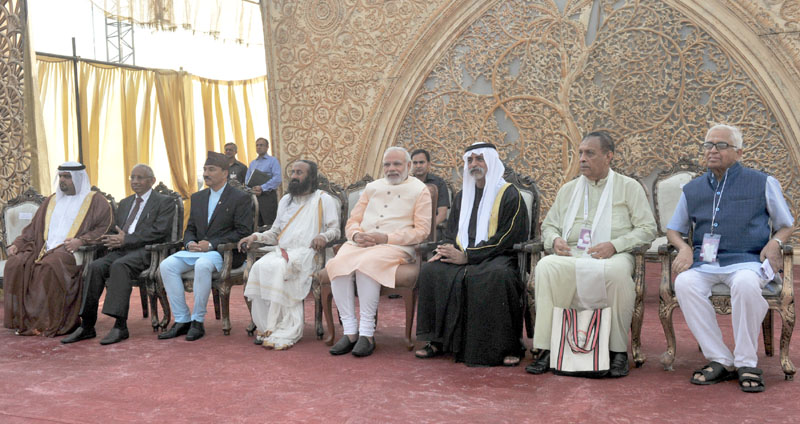 The Prime Minister, Shri Narendra Modi at the inaugural ceremony of the World Culture Festival, in New Delhi on March 11, 2016. The Spiritual Leader and Founder of the 'Art of Living Foundation', Sri Sri Ravi Shankar is also seen.