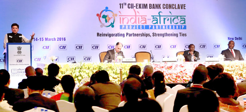 The Minister of State (Independent Charge) for Power, Coal and New and Renewable Energy, Mr. Piyush Goyal addressing the CII-EXIM Bank Conclave on India Africa Project Partnership in New Delhi on March 15, 2016.
