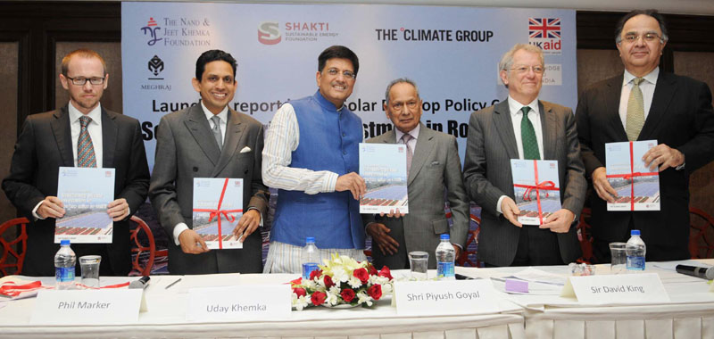 The Minister of State (Independent Charge) for Power, Coal and New and Renewable Energy, Mr. Piyush Goyal launching the Solar Rooftop Policy Coalition Report: 'Scaling of Private Investment in Rooftop Solar', at a function, in New Delhi on March 17, 2016.