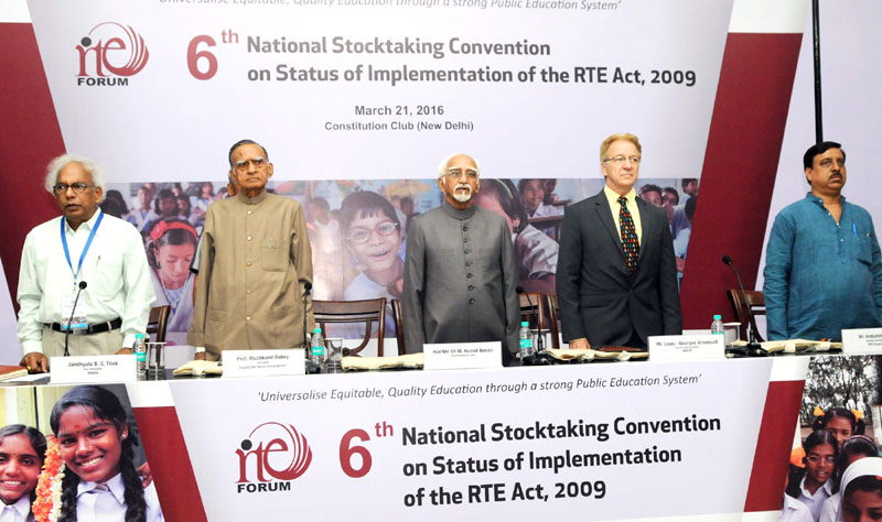 The Vice President, Mr. M. Hamid Ansari at the 6th National Stocktaking Convention on Status of Implementation of the RTE Act 2009, in New Delhi on March 21, 2016.