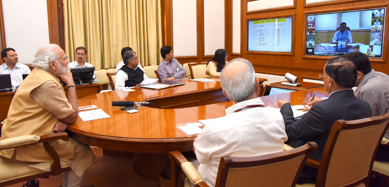 The Prime Minister, Mr. Narendra Modi chairing eleventh interaction through PRAGATI – the ICT-based, multi-modal platform for Pro-Active Governance and Timely Implementation, in New Delhi on March 23, 2016.