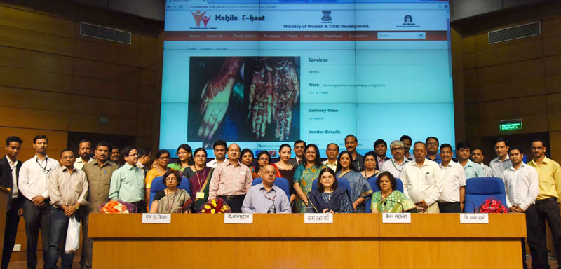 The Union Minister for Women and Child Development, Mrs. Maneka Sanjay Gandhi launched Mahila E-HAAT, an online Marketing Platform for Women Entrepreneurs, in New Delhi on March 07, 2016. The Secretary, WCD, Mr. V. Somasundaran and other dignitaries are also seen.