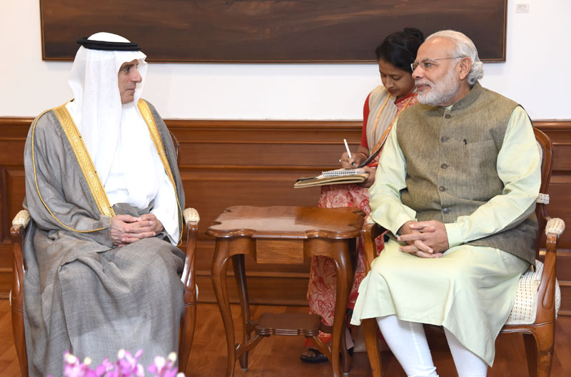 The Foreign Minister of Saudi Arabia, Mr. Adel bin Ahmed Al-Jubeir calls on the Prime Minister, Mr. Narendra Modi, in New Delhi on March 08, 2016.