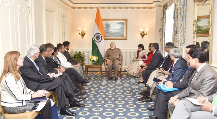 The Prime Minister, Mr. Narendra Modi meeting the Scientists from LIGO, who proved gravitational waves theory, in Washington D.C. on March 31, 2016.