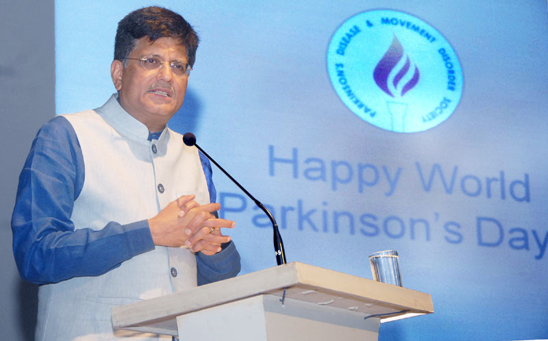 The Minister of State (Independent Charge) for Power, Coal and New and Renewable Energy, Mr. Piyush Goyal addressing at the 'Worlds Parkinson's Day Celebration', organised by the Parkinson's Disease & Movement Disorder Society, in Mumbai on April 11, 2016.