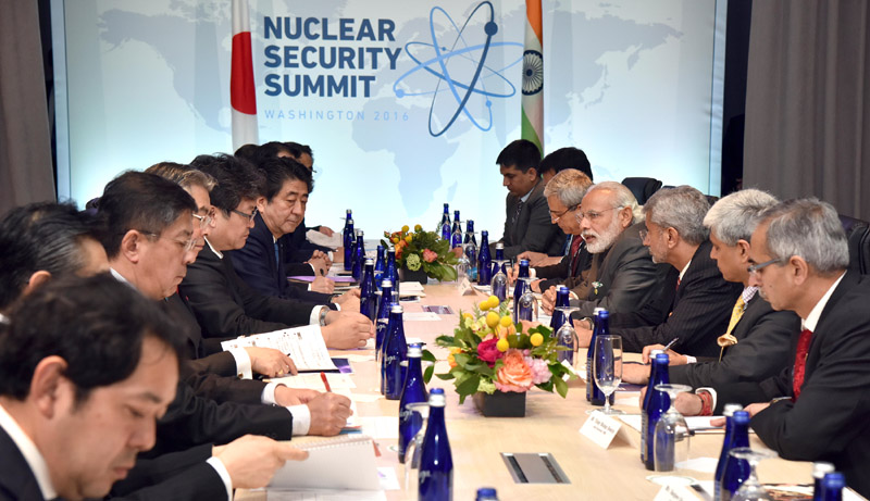 The Prime Minister, Mr. Narendra Modi meeting the Prime Minister of Japan, Mr. Shinzo Abe, on the sidelines of the Nuclear Security Summit 2016, in Washington DC on April 01, 2016.
