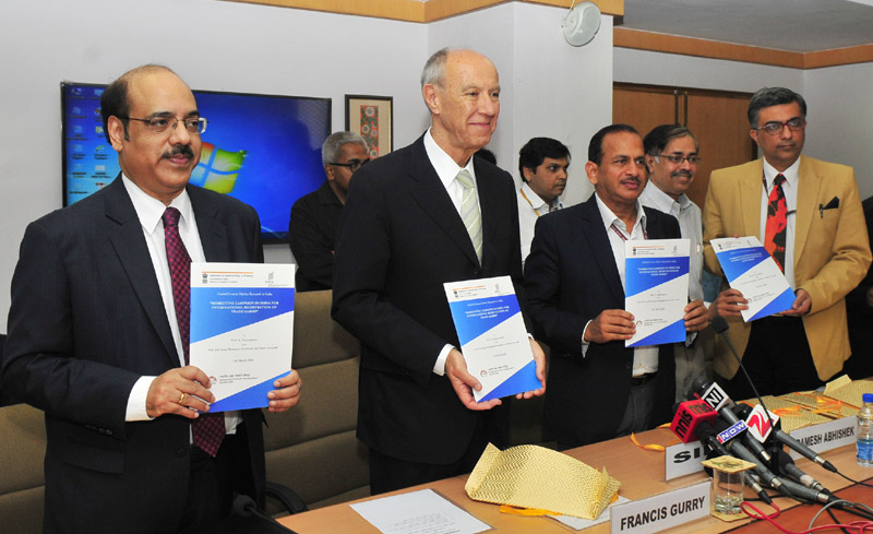 The Secretary, DIPP, Mr. Ramesh Abhishek launching the IP Panorama, in New Delhi on March 31, 2016. The DG, World Intellectual Property Organisation (WIPO), Mr. Francis Gurry and other dignitaries are also seen.