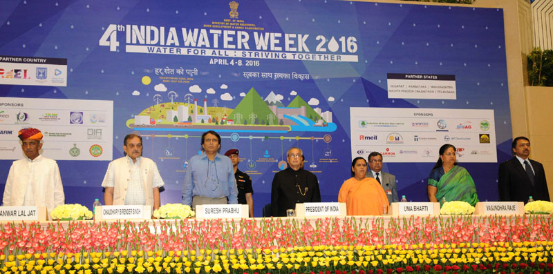 The President, Mr. Pranab Mukherjee at the valedictory function of the 4th India Water Week- 2016, in New Delhi on April 08, 2016. The Union Minister for Water Resources, River Development and Ganga Rejuvenation, Sushri Uma Bharti, the Union Minister for Railways, Mr. Suresh Prabhakar Prabhu, the Union Minister for Rural Development, Panchayati Raj, Drinking Water and Sanitation, Mr. Chaudhary Birender Singh, the Chief Minister of Rajasthan,Mrs. Vasundhara Raje Scindia, the Minister of State for Water Resources, River Development & Ganga Rejuvenation, Mr. Sanwar Lal Jat and the Secretary, Ministry of Water Resources, River Development and Ganga Rejuvenation, Mr. Shashi Shekhar are also seen.
