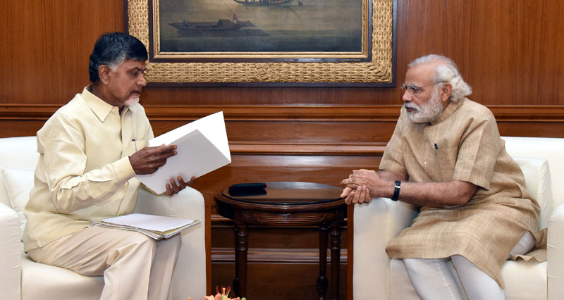 The Chief Minister of Andhra Pradesh, Mr. N. Chandrababu Naidu meeting the Prime Minister, Mr. Narendra Modi in New Delhi on May 17, 2016.