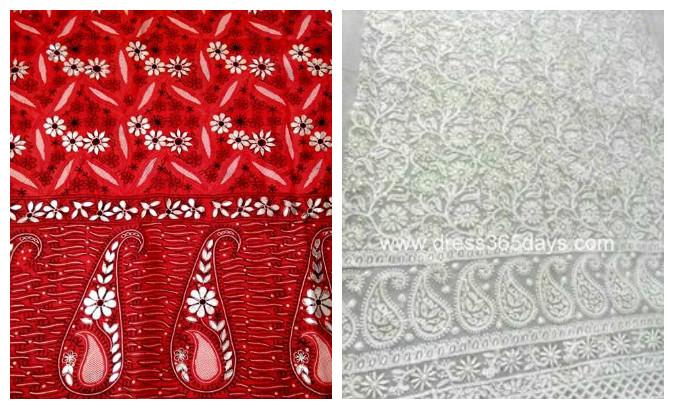 Chikankari fabric -white floral motifs pinterest